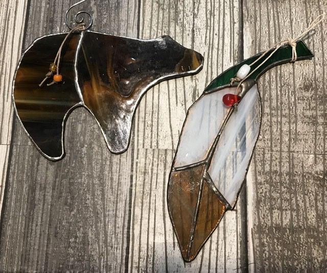 Bear and Feather Stained Glass Suncatcher